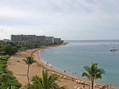 Live view looking down the beach from Sheraton Maui Resort and Spa