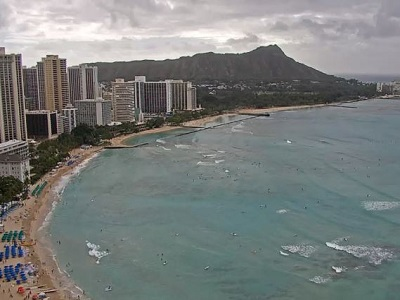 View from Waikiki Beach from the top of the Sheraton