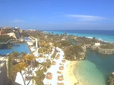 View of the Caribbean and Xcaret theme park